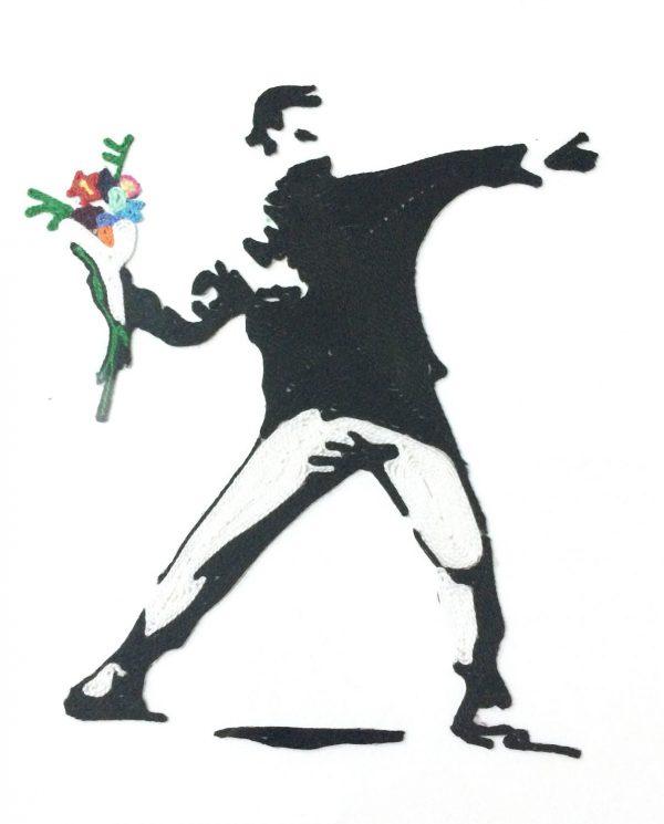hombre granada flores banksy